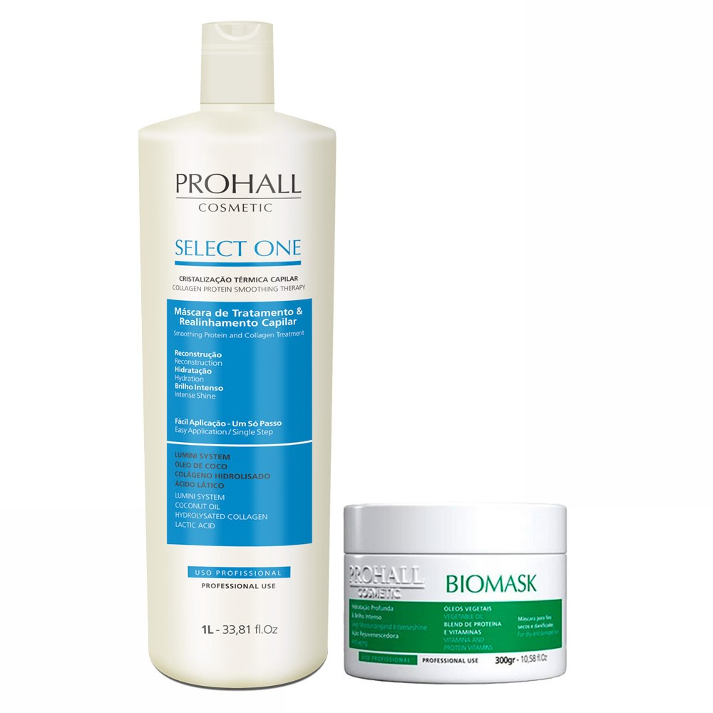 Prohall Kit Select One Progressiva & Biomask Hidratação para Cabelos Danificados