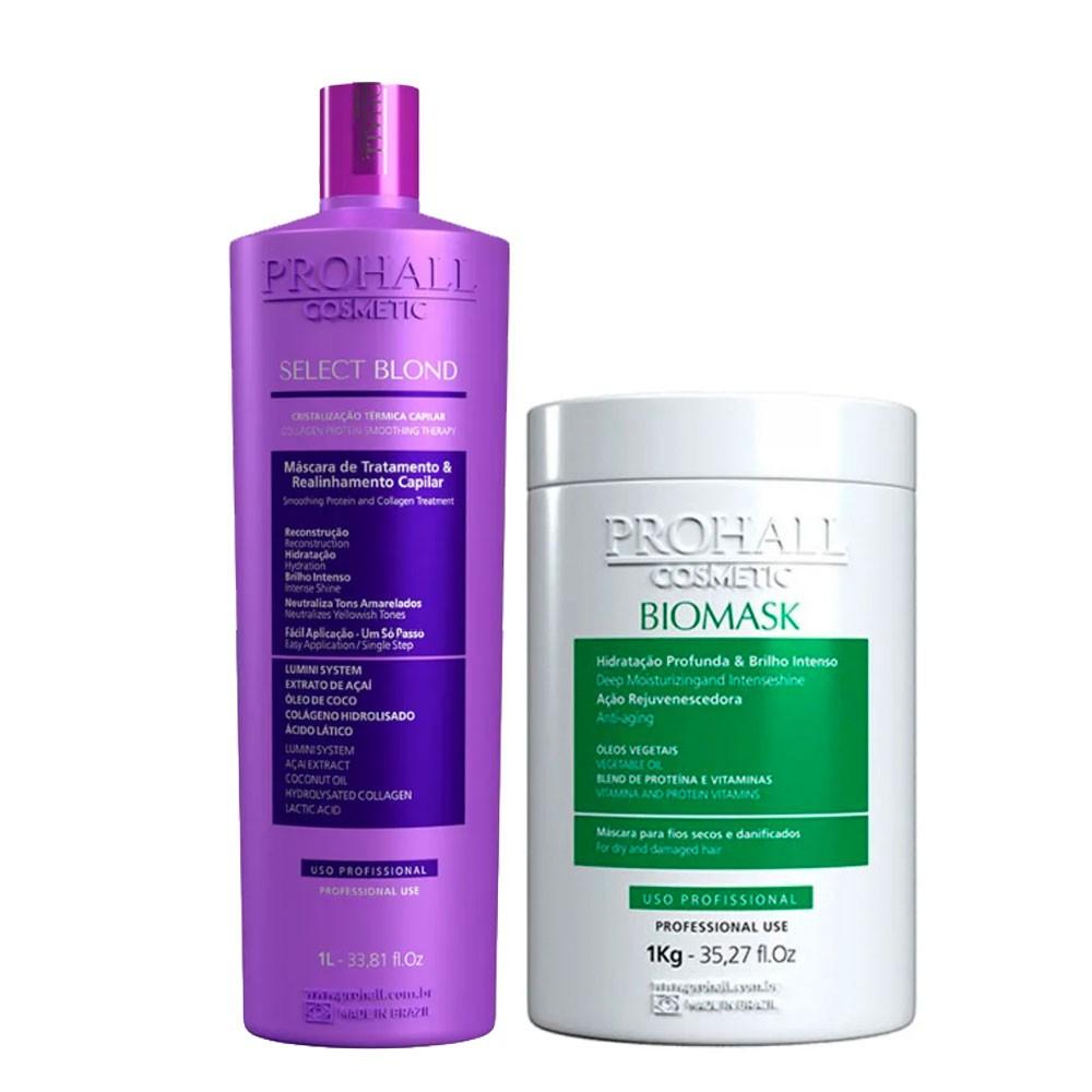 Prohall Select Blond Progressive & Biomask Hidratação para Cabelos Danificados 2x1L