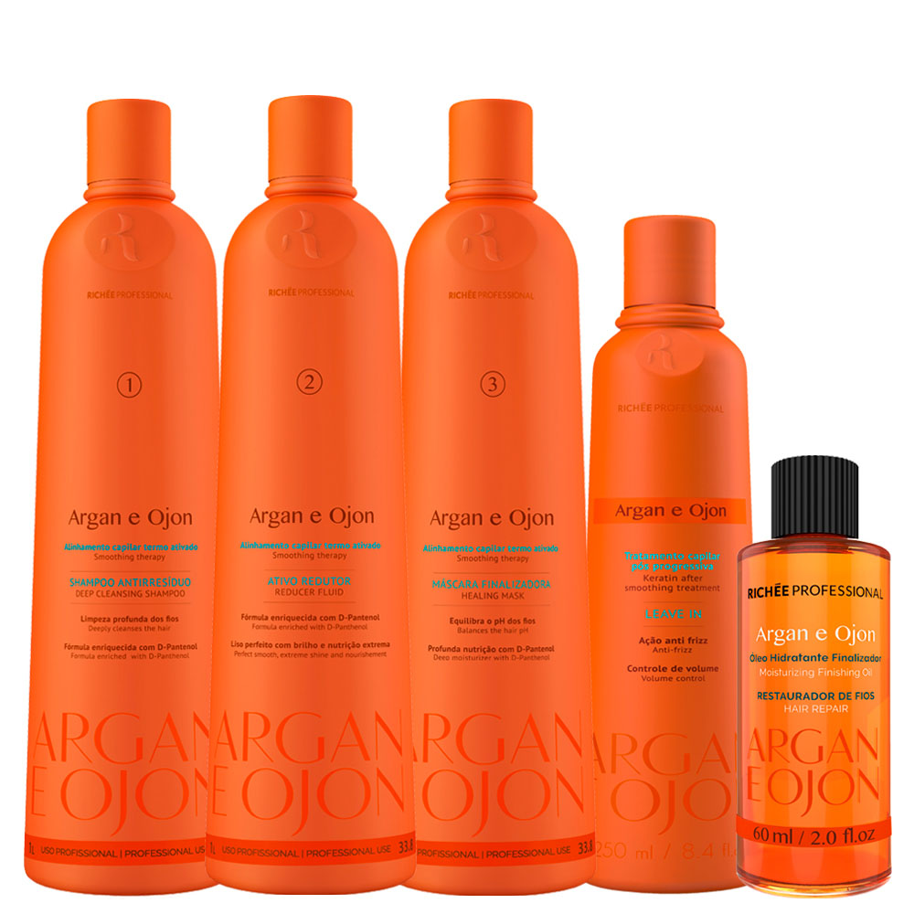 Richée Argan e Ojon Kit Progressiva 3x1L + Leave-in + Óleo
