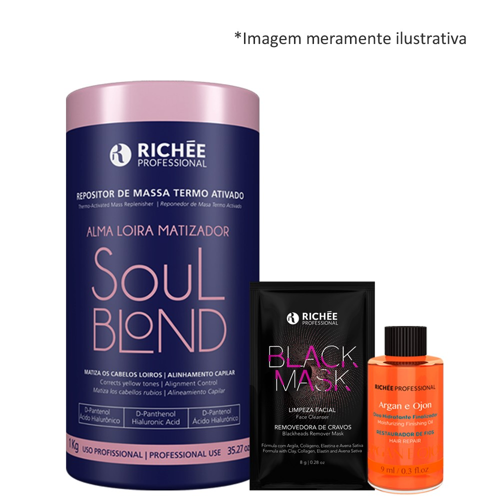 Richée Soul Blond Repositor De Massa + Óleo Argan + Mask