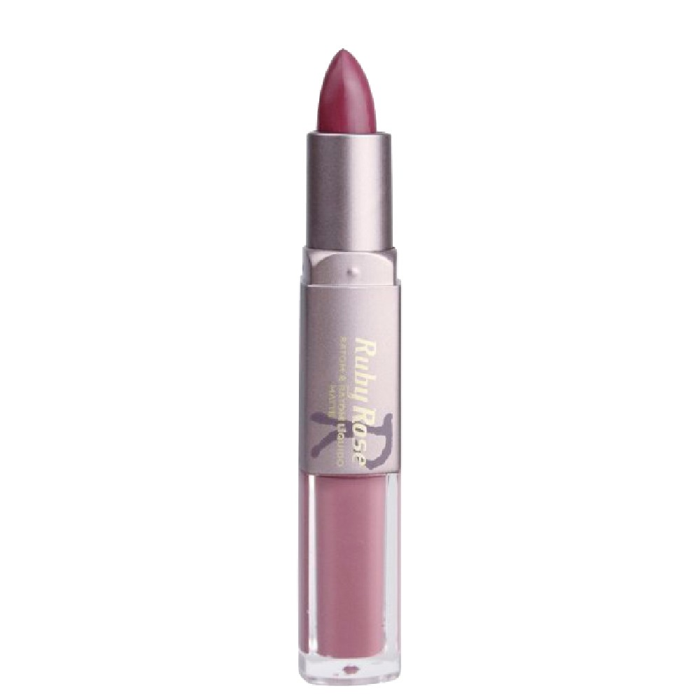 Ruby Rose Batom Duo Matte Cor 290 Purple Efeito Natural