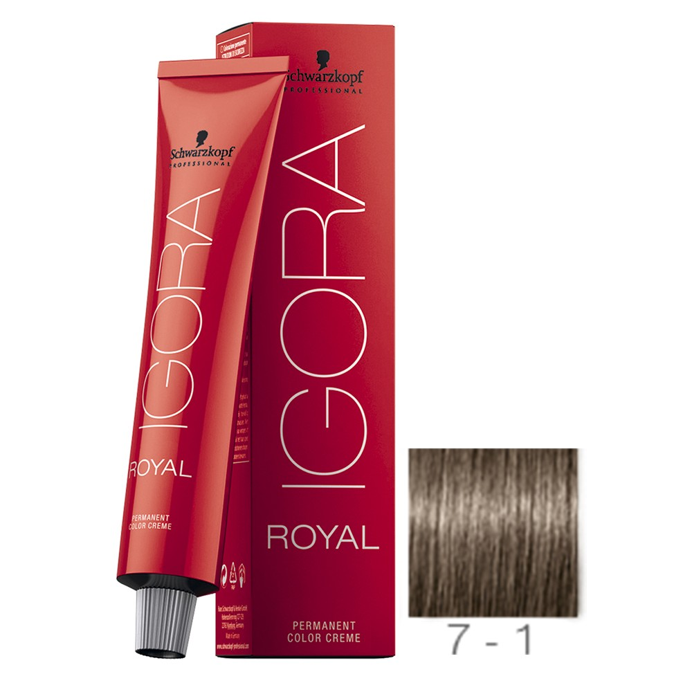 Schwarzkopf Igora Royal Coloração 7/1 Louro Médio Cinza 60ml