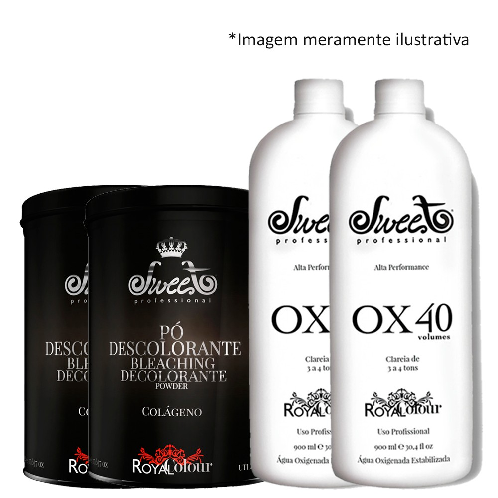 Sweet Hair Royal 4 Pó Descolorante 500g + 5 Ox 40Vol 900ml