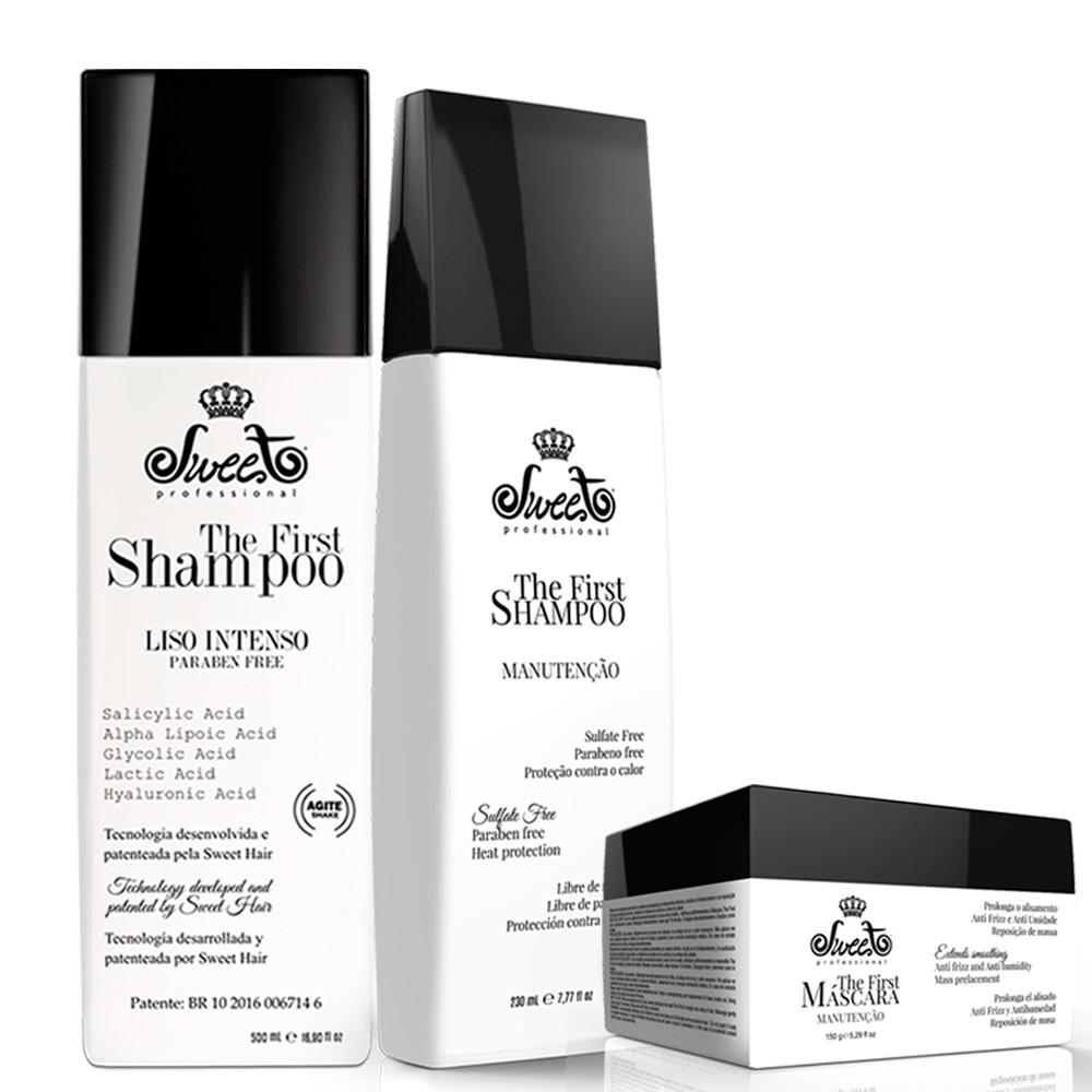 Sweet Hair The First Shampoo Alisa 500ml + kit Manutenção