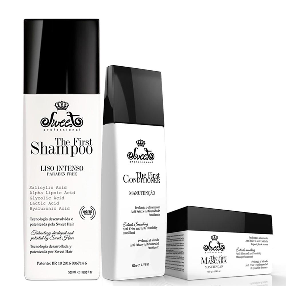 Sweet The First Shampoo Liso 500ml + Máscara + Condicionador