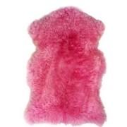 Pelego de Carneiro(Ovelha) com Lã Natural Aprox. 0,60X0,90m Rosa Pink