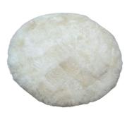 Tapete de Carneiro(Ovelha) com Lã Natural  Redondo Aprox. 1,55m de diam.  Branco