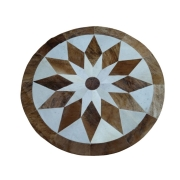 Tapete de Couro Mandala 1,43 diam Marrom e Branco c/Borda