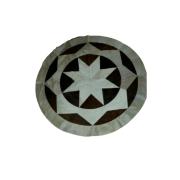 Tapete de Couro Mandala  Marrom e Branco  1,50 diam