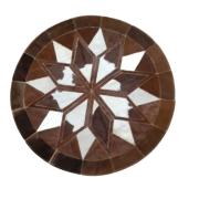 Tapete de Couro Mandala Tons de Marrom Escuro c/ Branco 1,20 diam