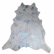 Tapete de Couro Natural 1,40x1,75m Branco c/Azul Devorê