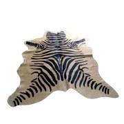 Tapete de Couro  Natural 1.70X1.50m Zebra Preta c/ Fundo Bege