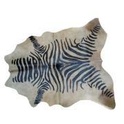Tapete de Couro  Natural 1,75x1,65m  Serigrafado Zebra c/Fundo Bege Super Escuro