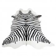 Tapete de Couro  Natural 1,75X1,70 Zebra Preto e Branco
