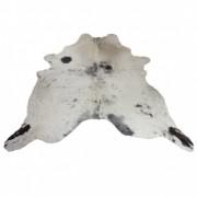 Tapete de Couro  Natural 2,05x1,85m Branco com Preto Salpicado