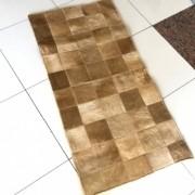 Tapete de Couro Quadriculado 0,55x1,10m Tons de Bege