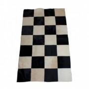 Tapete de Couro  Quadriculado 0,80x1,35m Xadrez Preto e Branco