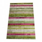 Tapete de Couro Quadriculado 0,95x1,45m Verde, Branco e Rosa