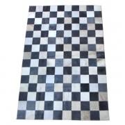 Tapete de Couro Quadriculado 1,00x1,50 Preto e Branco