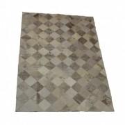 Tapete de Couro Quadriculado 1,00x1,50m Devorê Prata e Branco