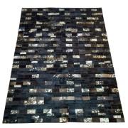 Tapete de Couro Quadriculado 1,45 x 1,90 Preto Devorê Dourado