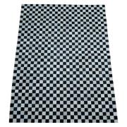 Tapete de Couro Quadriculado 1,48X1,92 Preto e Branco - Xadrez
