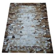 Tapete de Couro Quadriculado  1,50x2,00 Tons de Branco e Marrom
