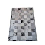 Tapete de Couro Quadriculado 1,75x1,15 Preto branco e Cinza Pintadinho