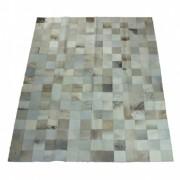 Tapete de Couro Quadriculado 1,80x1,40m Cinza