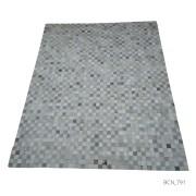 Tapete de Couro Quadriculado 2,00x2,50m Tons de Cinza