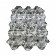 Tapete Importado Sintetico 1,50x1,85m Cinza e Branco formato 6 peles
