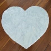 Tapete Importado Sintetico Coração 1,00 diam Azul c/ Antiderrapante