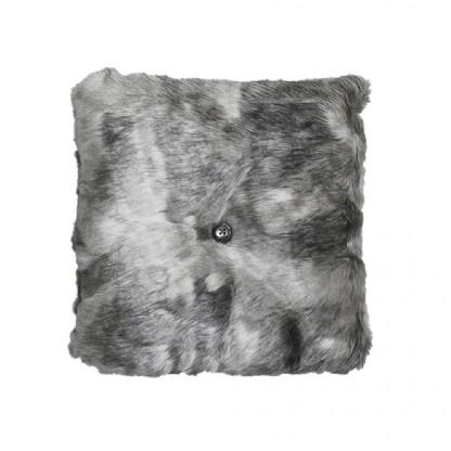 Almofada Importada Sintetica 40x40cm Cinza e Branco c/Botão