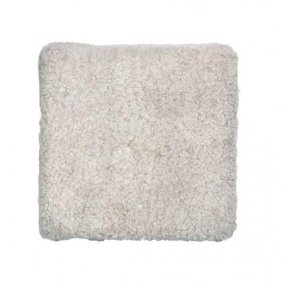 Assento de Carneiro(Ovelha) Tosado Natural com Verso em Courino 43x43cm