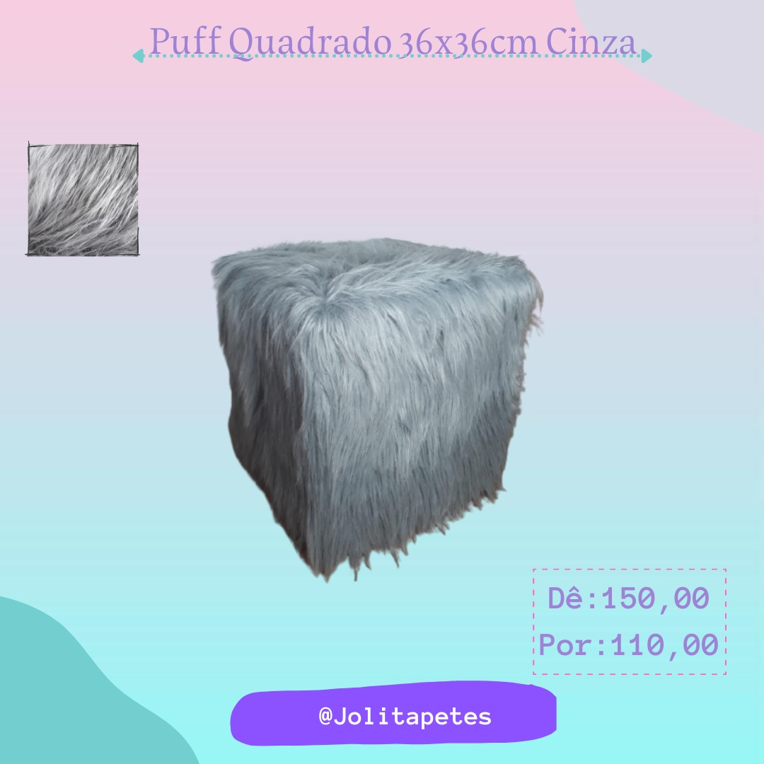 Puff Quadrado 36x36cm Cinza