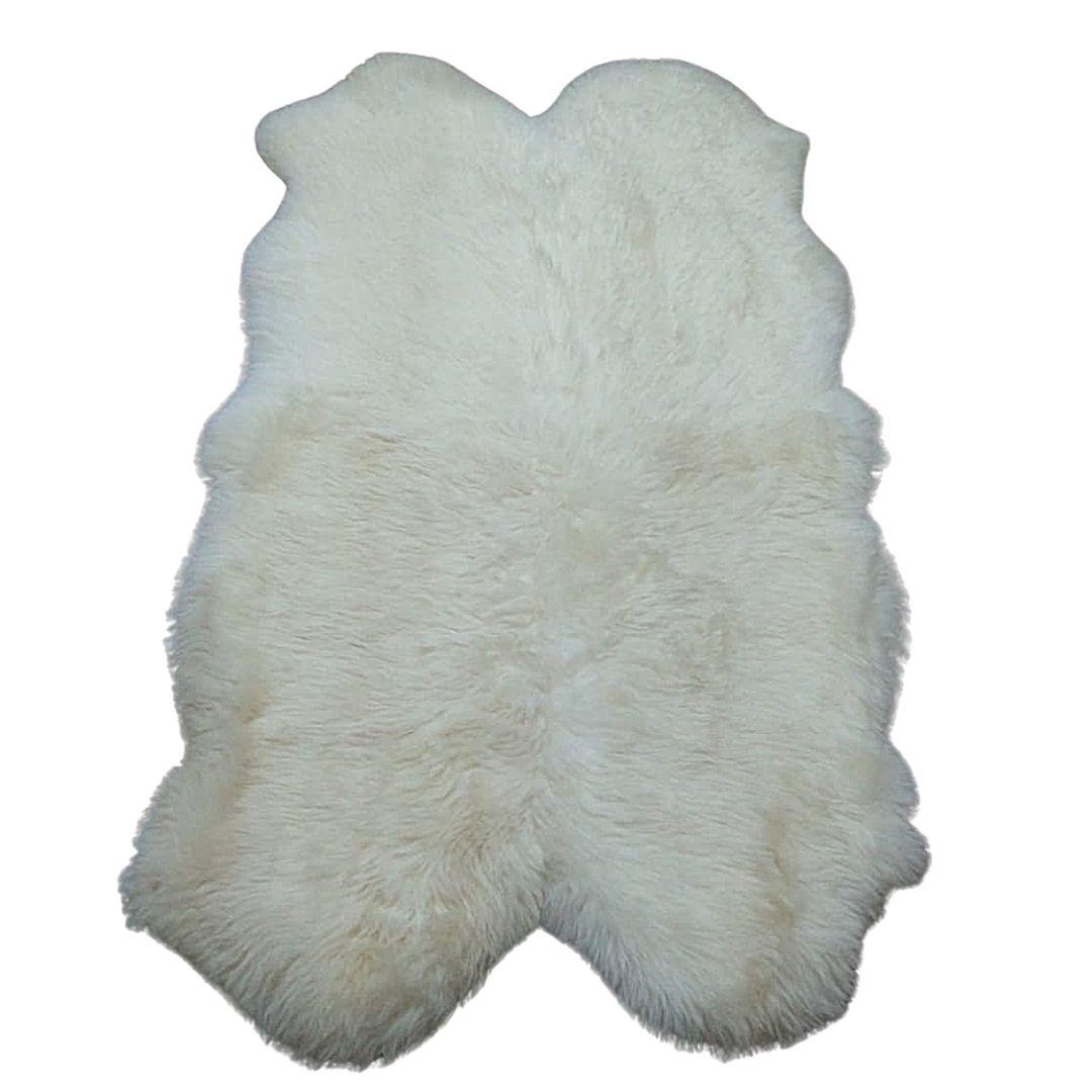 Tapete de Carneiro(Ovelha) com Lã Natural Conj. de 4 peles Aprox. 0,93X1,80 Branco