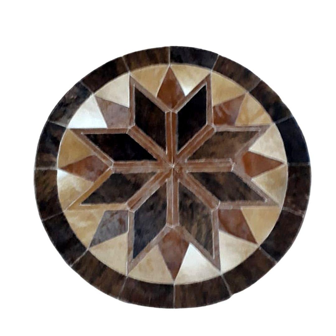 Tapete de Couro Mandala Marrom c/ Caramelo 1,20 diam