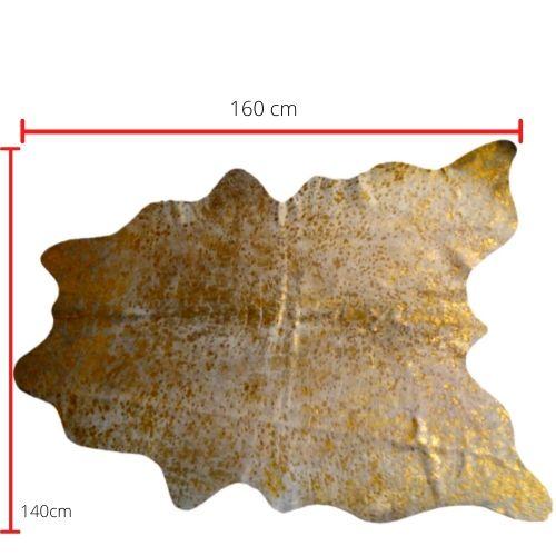 Tapete de Couro  Natural 1.40X1.60m Devorê ouro