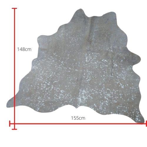 Tapete de Couro  Natural 1.55X1.48m Devorê Prata