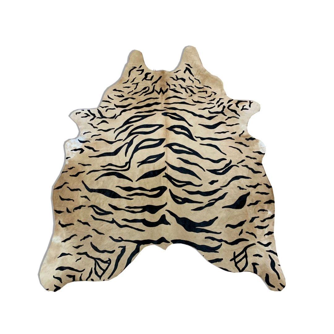 Tapete de Couro Natural 1,65X2,10m Serigrafado Tigre com Bege