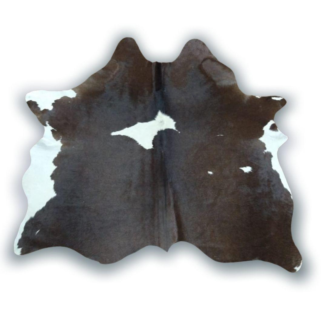 Tapete de Couro Natural 1,70x1,60 Marrom com Branco