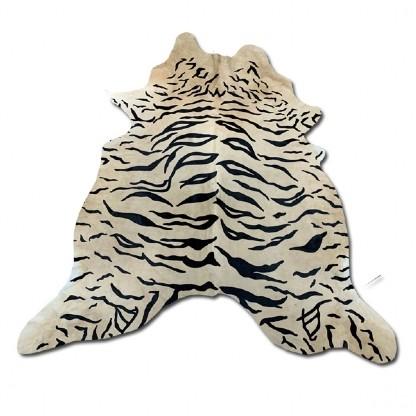 Tapete de Couro  Natural 1,80x2,05m Serigrafado Tigre com Bege
