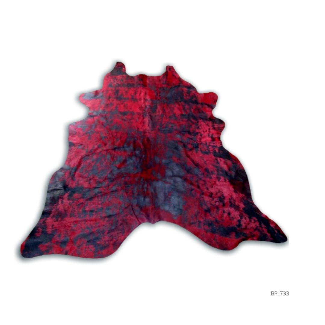 Tapete de Couro Natural 2,00X1,95m Vermelho Devore Preto