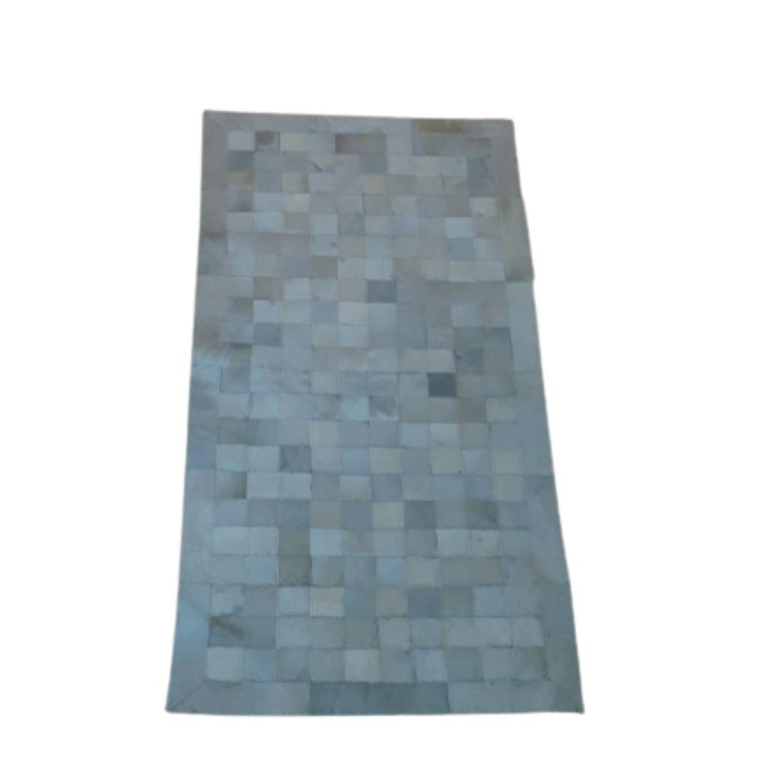 Tapete de Couro Quadriculado 0,60x1,20 Branco com borda