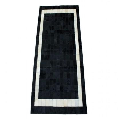 Tapete de Couro Quadriculado 0,75x2,00m Preto e Branco