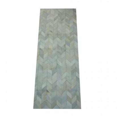 Tapete de Couro  Quadriculado 0,75x2,00m Tons de Cinza