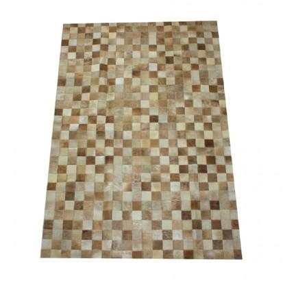 Tapete de Couro Quadriculado 1,00x1,45m Tons de Bege