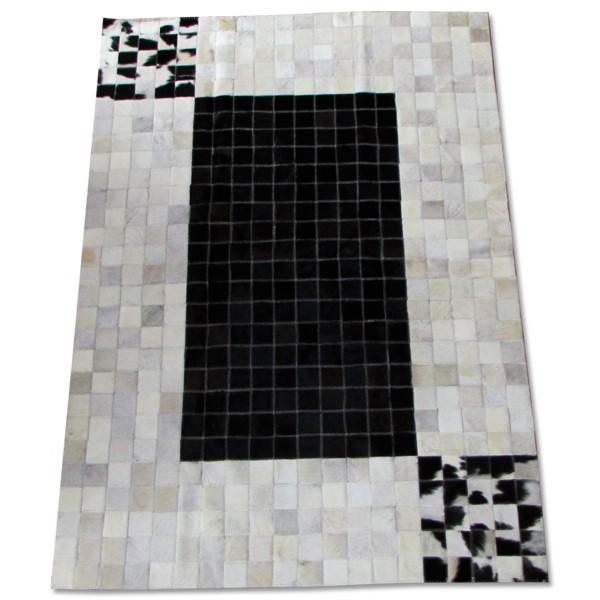 Tapete de Couro  Quadriculado 1,00x1,50m Preto e Branco