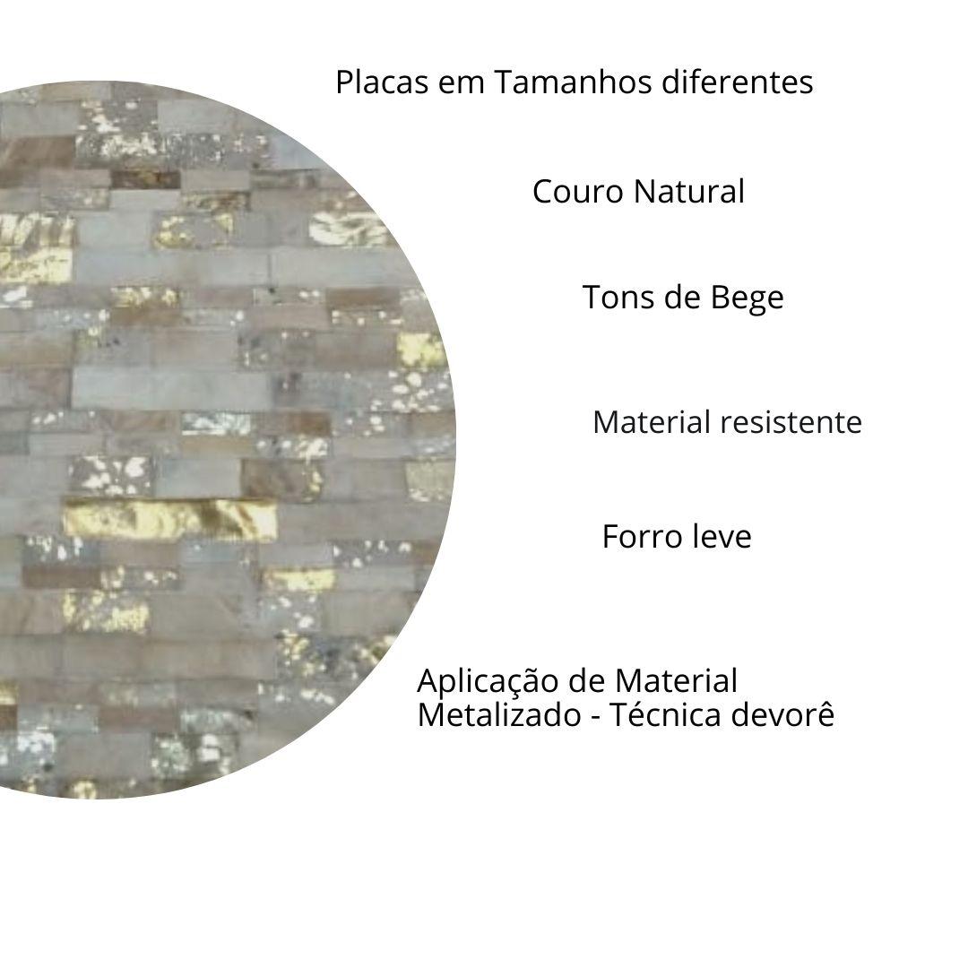 Tapete de Couro Quadriculado 1,45 x 1,95 Bege Devorê Dourado