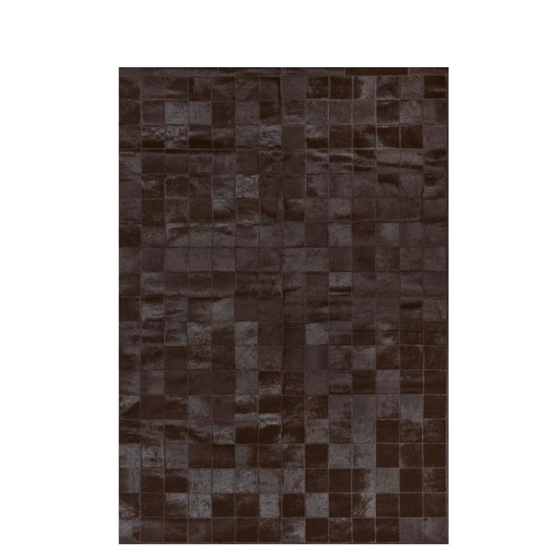 Tapete de Couro Quadriculado 1,45x1,90m Preto Natural